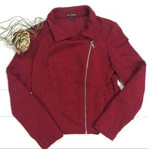 Express | embossed moto jacket | red | medium